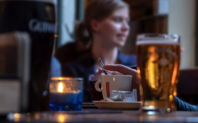Woman alone in the pub.  Fighting against prejudices about being alone and being a woman.